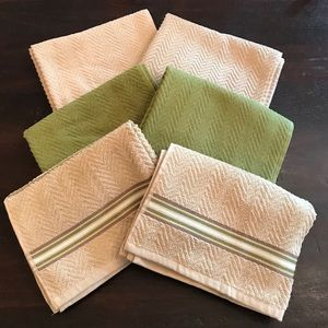 NWOT Tan And Green Cotton Dishtowels 6-Pack